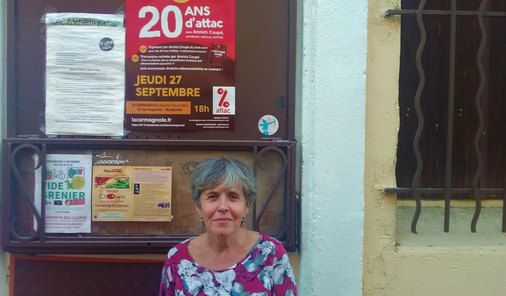 Annick Coupé, secrétaire générale d'Attac, à Montpellier, le 27 septembre dernier - FD