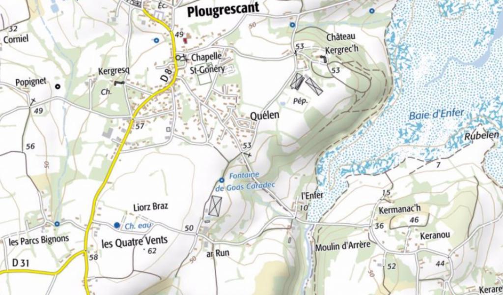 Carte de la région de Plougrescant - Crédits : Géoportail