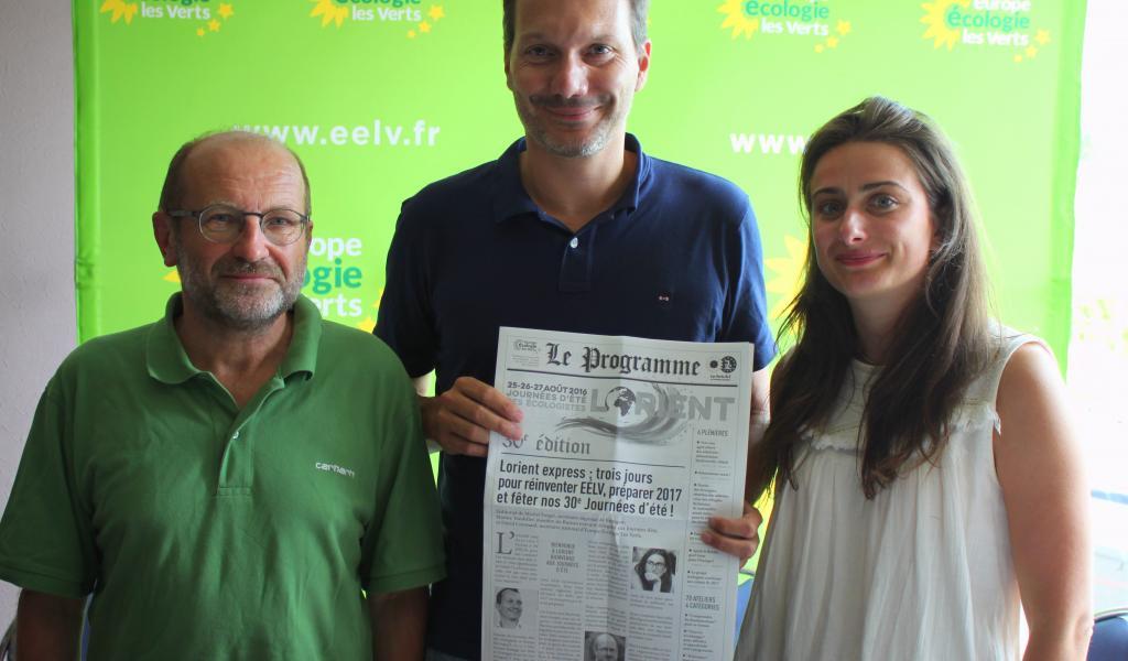 De gauche à droite : Michel Forget, secrétaire régional de Bretagne, David Cormand, secrétaire national d'EELV, Marine Tondelier, membre du bureau exécutif déléguée aux Journées d'été. Crédits photos: Stéphanie - Sans Transition