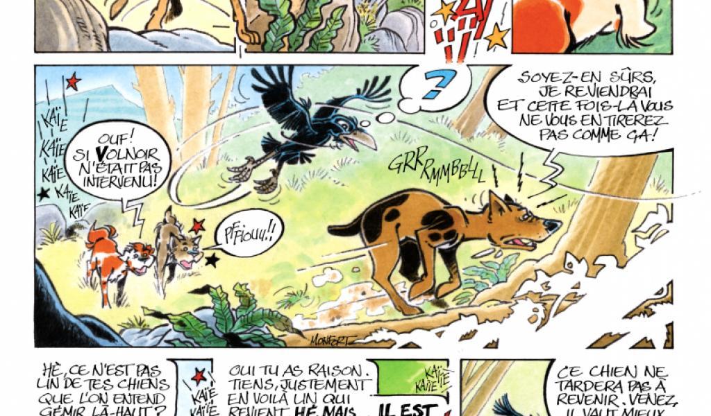 """Serge Montfort. Page de la Bande dessinnée """"De mémoire de loup"""""""